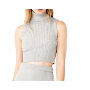 Kate Spade Gray Sleeveless Knit Crop Top Size L